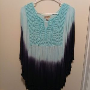 One World Turquoise and Black Woman's Blouse